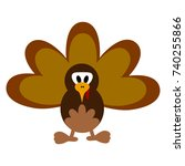 turkey icon with feathers... | Shutterstock .eps vector #740255866