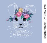 Stock vector cute bunny sweet princess with embroidery flowers crown vector illustration baby girl shower card 740257198