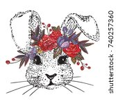 Stock vector white rabbit with embroidery flower crown vector illustration beautiful hand drawn bunny 740257360