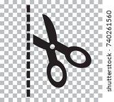 black scissors with cut lines...   Shutterstock .eps vector #740261560