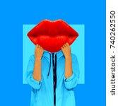 contemporary art collage. girl... | Shutterstock . vector #740262550