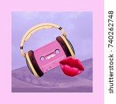 contemporary art collage. retro ... | Shutterstock . vector #740262748
