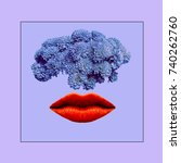 contemporary art collage.... | Shutterstock . vector #740262760
