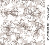 pattern with hand drawn ribbons.... | Shutterstock .eps vector #740266348