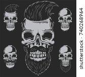 set of barbershop skulls for... | Shutterstock .eps vector #740268964