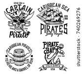 set of vintage pirate emblems ... | Shutterstock .eps vector #740269276