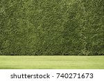 seamless trimmed green hedge... | Shutterstock . vector #740271673