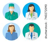medical icons. doctor and nurse ... | Shutterstock .eps vector #740272090