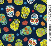 day of the dead seamless... | Shutterstock .eps vector #740272678