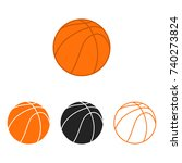 basketball ball set. vector... | Shutterstock .eps vector #740273824