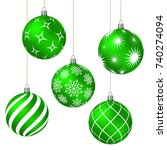 green christmas balls with... | Shutterstock .eps vector #740274094
