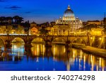night view of basilica st peter ... | Shutterstock . vector #740274298
