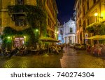 view of old cozy street in rome ... | Shutterstock . vector #740274304