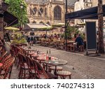 cozy street with tables of cafe ... | Shutterstock . vector #740274313