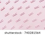 pink clothes pins on the pink... | Shutterstock . vector #740281564