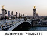 the alexander iii bridge across ... | Shutterstock . vector #740282554