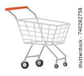 wire supermarket shopping cart... | Shutterstock .eps vector #740282758