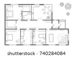 vector floor plan on white... | Shutterstock .eps vector #740284084