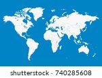blue world map | Shutterstock .eps vector #740285608
