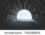 end of the tunnel in snow and...   Shutterstock . vector #740288836