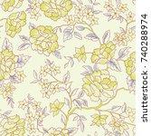 floral pattern. flower seamless ... | Shutterstock .eps vector #740288974