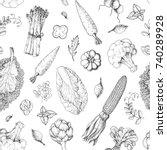 vegetables seamless pattern.... | Shutterstock .eps vector #740289928