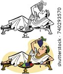 a roman emperor lounges on a... | Shutterstock .eps vector #740293570