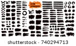Stock vector brush strokes text boxes vector paintbrush set grunge design elements dirty texture banners ink 740294713