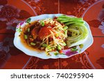 papaya salad. popular thai... | Shutterstock . vector #740295904