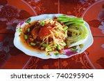 papaya salad. popular thai... | Shutterstock . vector #740295904