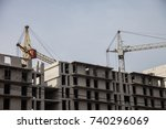 tower cranes at the... | Shutterstock . vector #740296069