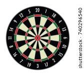 a vector format dart board.   Shutterstock .eps vector #740296540