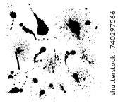 vector set of ink splashes... | Shutterstock .eps vector #740297566