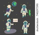 Vector Astronauts In Space ...