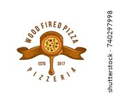pizza logo. collection labels... | Shutterstock .eps vector #740297998
