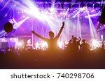 girl cheering at outdoor music  ... | Shutterstock . vector #740298706