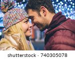 closeup image of a young couple ... | Shutterstock . vector #740305078