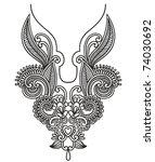 neckline embroidery fashion | Shutterstock .eps vector #74030692