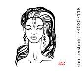 aquarius. zodiac signs... | Shutterstock .eps vector #740307118
