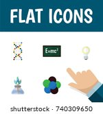 flat icon study set of genome ... | Shutterstock .eps vector #740309650