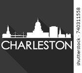 charleston flat icon skyline... | Shutterstock .eps vector #740311558