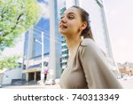 young beautiful girl in a... | Shutterstock . vector #740313349