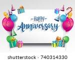 happy anniversary typography... | Shutterstock .eps vector #740314330