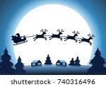 Silhouette Reindeer With Santa...