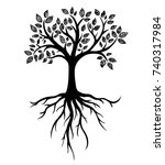 tree silhouette with roots ... | Shutterstock .eps vector #740317984