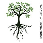 tree symbol with roots  real... | Shutterstock .eps vector #740317996