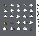weather doodle icon set  real... | Shutterstock .eps vector #740318140