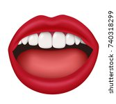woman lips slightly open mouth... | Shutterstock .eps vector #740318299
