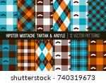 hipster mustache tartan plaid... | Shutterstock .eps vector #740319673