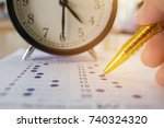 students taking optical form of ... | Shutterstock . vector #740324320